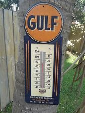 GULF GAS VINTAGE STYLE METAL SIGN THERMOMETER 15 BY 5.5 INCHES GARAGE SHOP