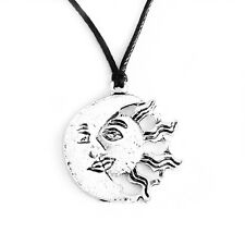 Moon Kissing Sun Charm Pendant Choker Necklace with Black Cord