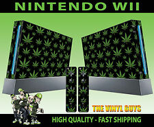NINTENDO WII STICKER  CANNABIS LEAF BLACK WEED MARY GRAPHIC SKIN & 2 PAD SKINS