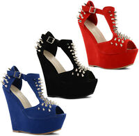New Ladies Peep Toe T Bar High Platform Wedge Heels Spiked Shoes Size UK 3-8
