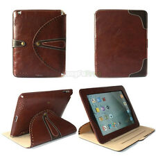 Genuine Luxury Leather 360 Rotating Stand Smart Case Cover For iPad 2 3 4 Brown