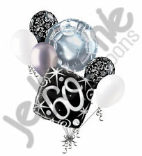 7 pc 60th Elegant Happy Birthday Sparkles Balloon Bouquet Black Damask Silver