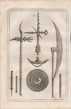 1801 ANTIQUE MILITARY PRINT - ARMOUR PLATE 34 ROUNDEL BATTLE AXE  AND OTHERS