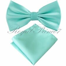 Brand Q Mint Aqua Green Butterfly Pretied Bow tie & Pocket Square Hanky Wedding