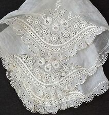 RARE Antique Swiss Ayrshire Exquisite Heavily Embroidered Fine Swiss Batiste