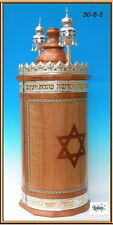 Wood & Silver Case for Sefer Torah Scroll Parchment, Finials, Jewish Synagogue