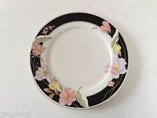"Lynns Fine China Pearl ALICE 8860 Lily Black Ring Floral - 10-1/2"" DINNER PLATE"