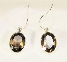 Smoky Quartz Gemstone Earrings in 925 Sterling Silver