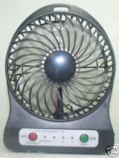 Portable Mini Rechargeable LED Light Fan With Charger Battery & USB Cable(Black)