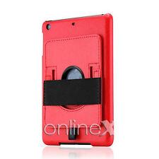 Funda Modelo Piel para iPad 2, 3, 4, Soporte Rotatorio Rojo a747