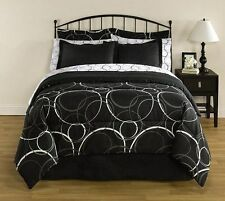 Black & White Polka Dots Circles Queen Comforter Set, 8 Piece Bed In A Bag