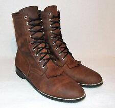 Vintage ACME 10.5 D Brown Leather Lace Up Roper Cowboy Western  Boots