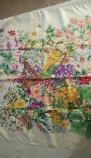 GUCCI Italian VINTAGE Silk FLORAl SCARF WHITE RARE AUTHENTIC FLOWERS