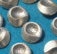 Antiqued SILVER METAL Set 12 DECO DIP New Vintage Buttons SHAPED 13/16""