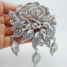 New Elegant Bridal Clear Rhinestone Crystal Flower Rose Brooch Pin Pendant