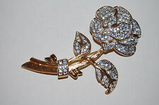 NOLAN MILLER BROOCH DESIGNER MARKED PIN ROSE SPARKLE WOW!!  GOLD TONE