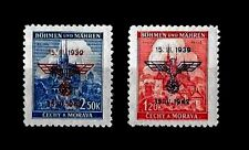 THIRD REICH Protectorate of Bohemia and Moravia Mi 83-84 overprinted MNH