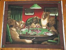 Dogs Playing Poker Cards Art From Brown & Bigelow Wall Hanging VIP Fabric Panel