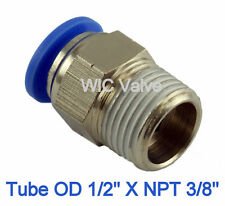 5pcs Male Straight Connector Tube OD 1/2 X NPT 3/8 Quick Release Push In Fitting
