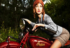 Art Indian scout Motorcycle motorbike Pretty Girl Poster Print