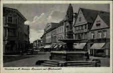 Güstrow Mecklenburg DDR Postkarte 1951 Partie am Borwin Brunnen mit Pferdemarkt