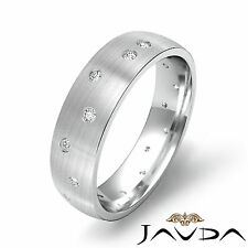 Round Mens Diamond Eternity Center Brushed Wedding Solid Band Platinum 0.25Ct