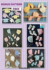 100+ VINTAGE BABY PATTERNS~hats bonnets mittens & booties + FREE BONUS PATTERNS,