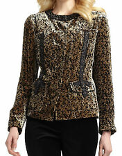 Nwt $548 Elie Tahari DAKOTA Leopard Velvet Jacket Blazer Top Coat ~Black *M