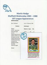 MARTIN HODGE SHEFFIELD WED 1983-1988 ORIG SIGNED FIGURINE PANINI STICKER (USED)