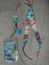New Disney Peter Pan Tinker Bell Character Lanyard ID Pin Holder & Rubber Charm