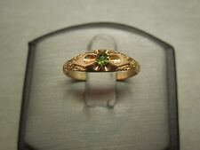 Unisex Antique Estate C1870 10K Gold Gypsy Old Rose cut Green Tourmaline Ring 9