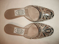 EMMA HOPE Silver & Beige KITTEN HEEL MULES Shoes EU 36 US 5.5-6 Italy FREE Ship