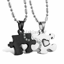 His and Hers Stainless Steel Love Heart Puzzle Pendant Couple Necklaces 1 Pair
