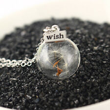 Women Real Dandelion Seeds Fashion Lucky Glass Wishing Bottle Pendant Necklace