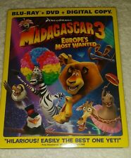 Madagascar 3: Europe's Most Wanted (Blu-ray/DVD, 2012, 2-Disc Set)+ 1 and 2 dvd