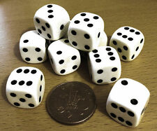 Dice - 10 x 16mm 6 sided spot dice - WHITE