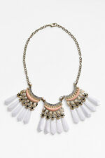 Lee by Lee Angel Nordstrom White Fan Crystal Peach Collar Necklace NWOT $98