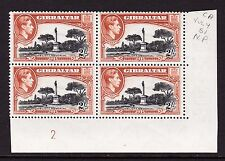GIBRALTAR 1938-51 2/- PERF.13 IN PLATE BLOCK SG 128b MNH.