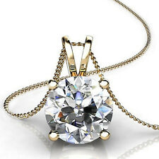 """2.0Ct Round Cut 14K Yellow Gold Solitaire Pendant Necklace Box With 18"""" Chain"""