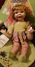 Duck house Heirloom Porcelain Doll Elf /Fairy plus tag Excellent + Lily Pad