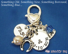 PERSONALISED Wedding Charm for Bag Bouquet Something old new borrowed blue BRIDE