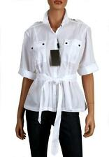 NEW BURBERRY LADIES WHITE COTTON CHEST POCKETS BELTED SHIRT M/MEDIUM