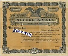 1906 Very RARE stock certificate B G McINTYRE Minden Louisiana WEBSTER DRUG CO.