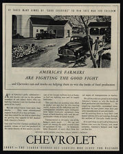 1944 CHEVROLET Cars - WWII - American Farmers Fight Good Fight - Farm VINTAGE AD