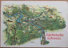POST CARD Map Old Rare Vintage CSSR Postal Stamp Marie Curie Sachsische Schweiz