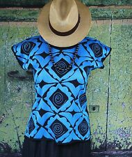 Blue & Black Hand Embroidered Huipil Blouse Jalapa Mexico Hippie Boho Santa Fe