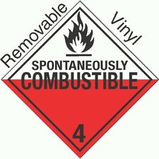 Worded Spontaneously Combustible Class 4.2 Removable Vinyl PLACARD (PACK OF 50)