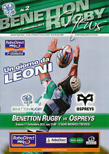 BENETTON TREVISO V Ospreys RaboDirect PRO12 17 SEP 2011 RUGBY programma