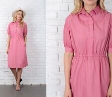 Vintage 70s 80s Pink Shirt Dress Pinstripe Striped Midi A Line Medium M