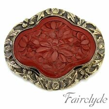 Large Vintage Chinese Carved Red Cinnabar Laquer Metal Brooch Pin Gift Boxed